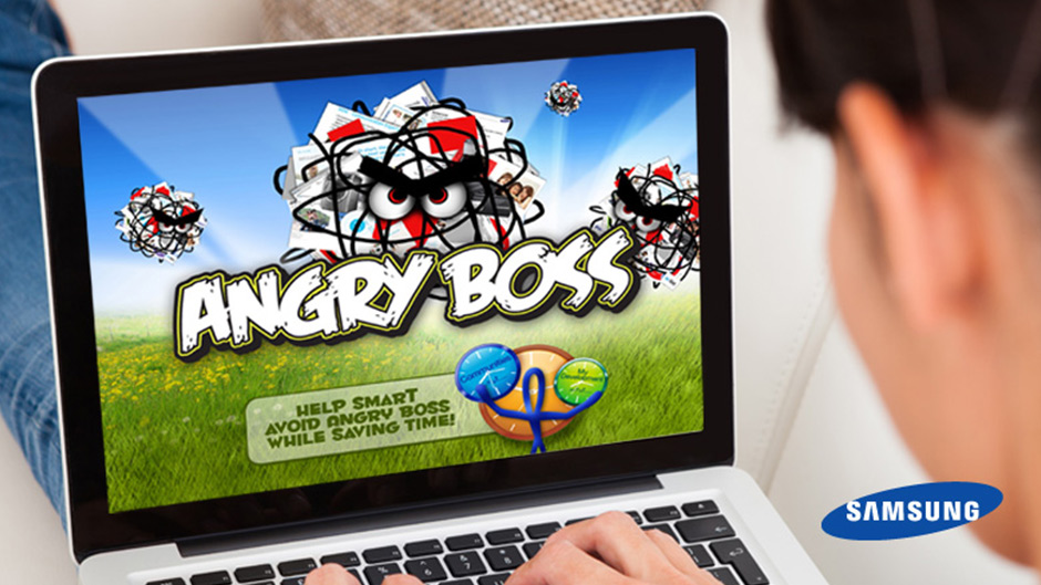 snap advertising samsung angry boss game